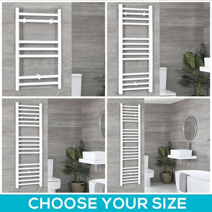 Milano Ive Electric - White Flat Heated Towel Rail - Choice of Size, Bluetooth Element and Cable Cover
