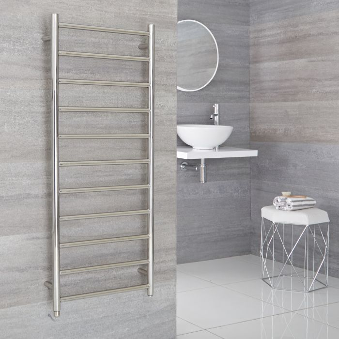 Milano Esk Electric - Stainless Steel Flat Heated Towel Rail - 1200mm x 500mm