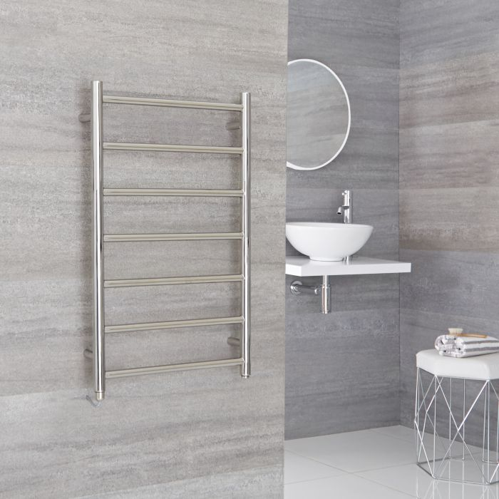 Milano Esk Electric - Stainless Steel Flat Heated Towel Rail - 800mm x 500mm