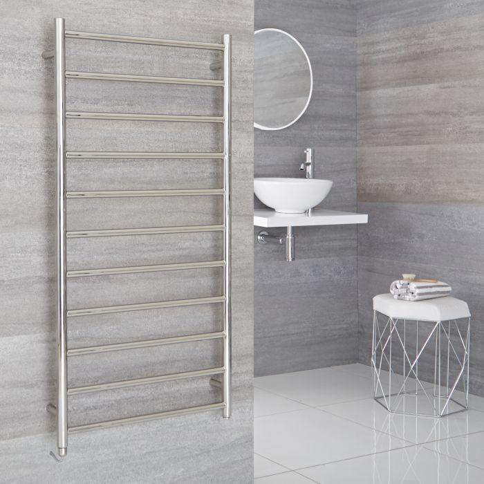 Milano Esk Electric - Stainless Steel Flat Heated Towel Rail - 1200mm x 600mm
