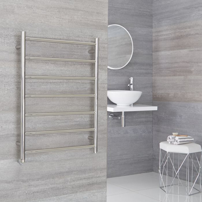 Milano Esk Electric - Stainless Steel Flat Heated Towel Rail - 800mm x 600mm