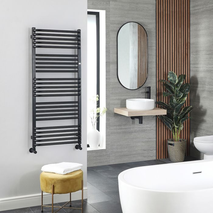 Terma Pola - Black D-Bar Heated Towel Rail - 1180mm x 500mm
