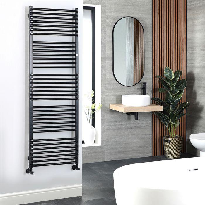 Terma Pola - Black D-Bar Heated Towel Rail - 1580mm x 500mm