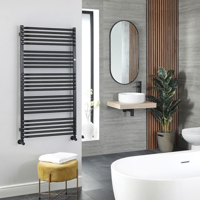 Terma Pola - Black D-Bar Heated Towel Rail - 1580mm x 600mm