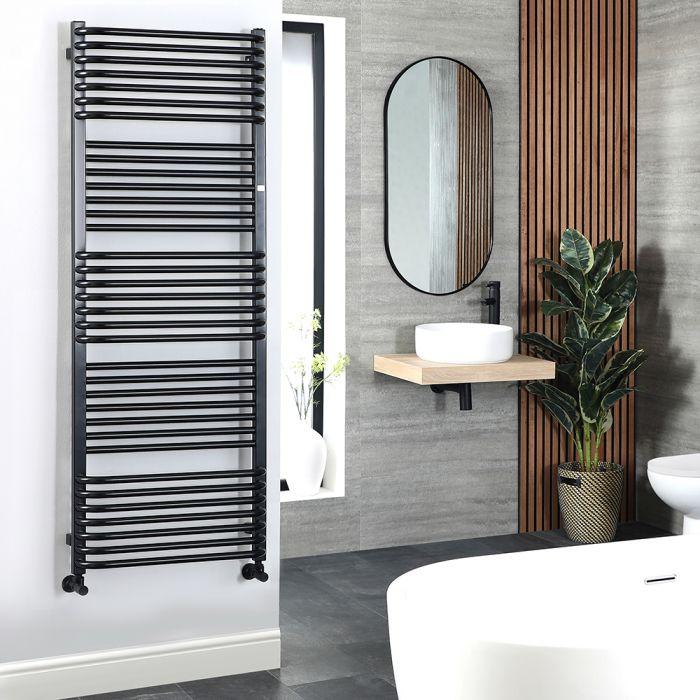 Terma Pola - Black D-Bar Heated Towel Rail - 1180mm x 600mm