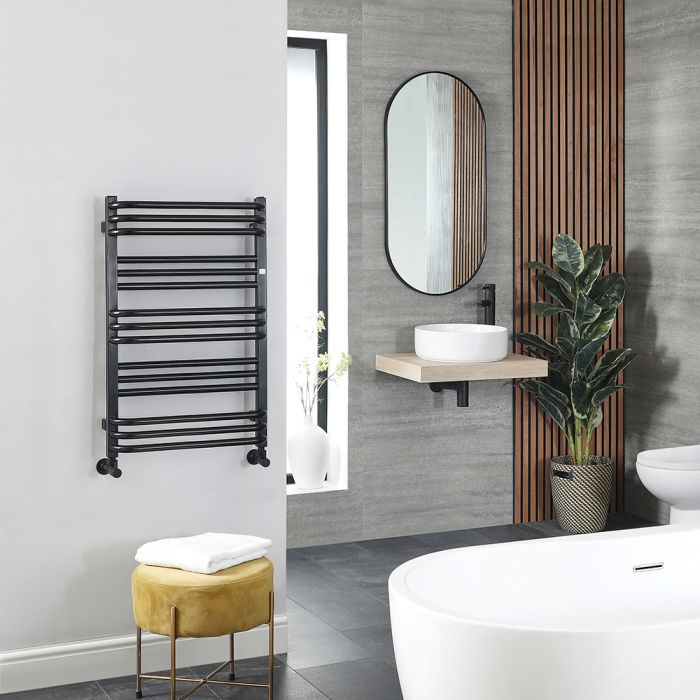 Terma Pola - Black D-Bar Heated Towel Rail - 780mm x 500mm