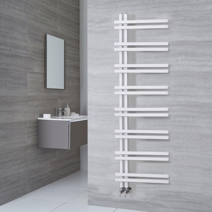 Milano Pars - Aluminium White Designer Heated Towel Rail - 1600mm x 500mm