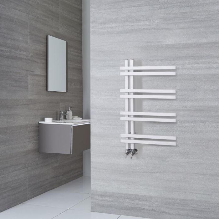 Milano Pars - Aluminium White Designer Heated Towel Rail - 800mm x 500mm