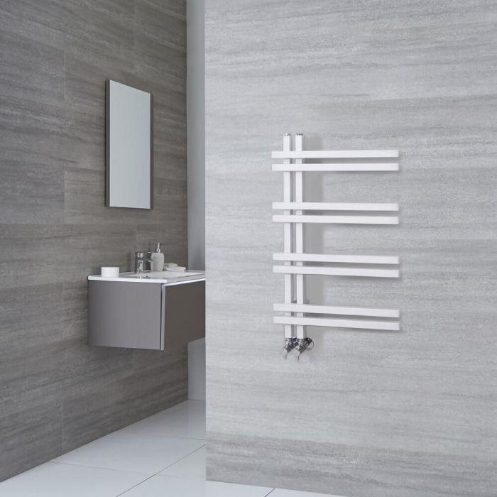 Milano Pars - Aluminium White Designer Heated Towel Rail - 800mm x 500mm