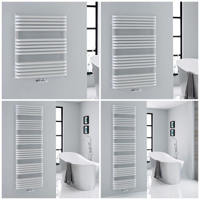 Milano Bow - White D-Bar Heated Towel Rail - Choice of Size