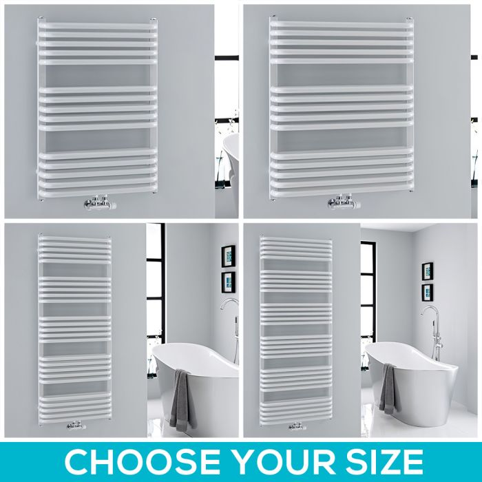 Milano Bow - White D-Bar Heated Towel Rail - Choice of Size