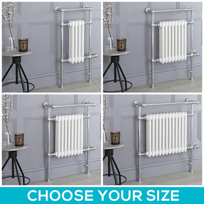 Milano Elizabeth - White Traditional Electric Heated Towel Rail - Choice of Size