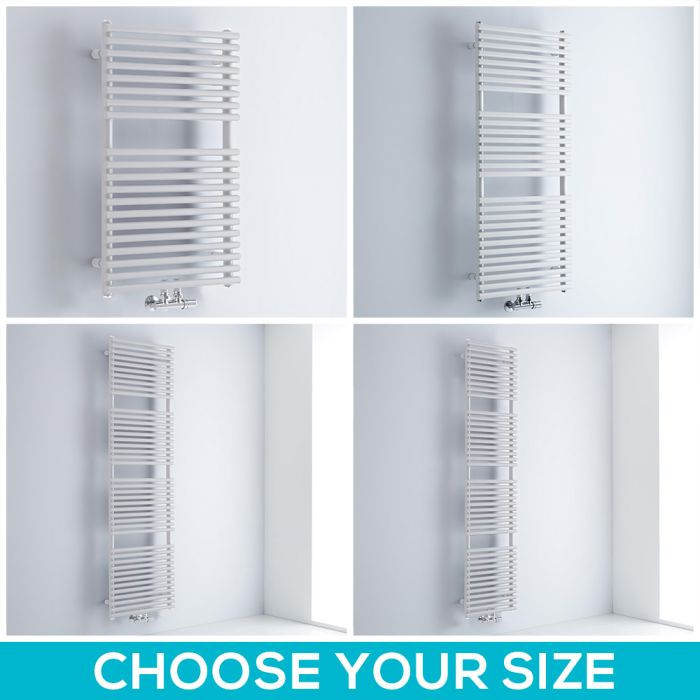 Milano Via - White Central Connection Bar on Bar Heated Towel Rail - Choice of Size
