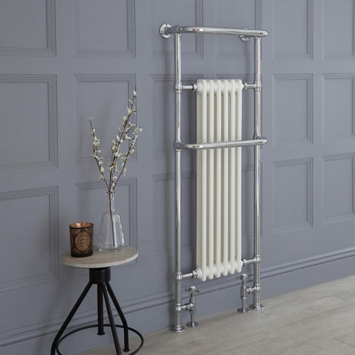 Milano Elizabeth - Chrome and White Traditional Heated Towel Rail - 1500mm x 575mm