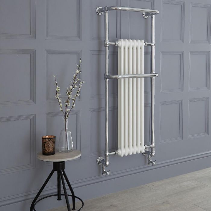 Milano Elizabeth - Chrome and White Traditional Heated Towel Rail - 1365mm x 575mm