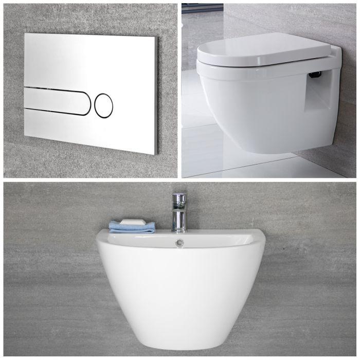 Milano Irwell - White Modern Rimless Wall Hung Basin and Toilet Set