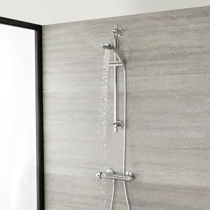 Milano Select - Chrome Thermostatic Mixer Shower with Round Hand Shower and Riser Rail (1 Outlet)