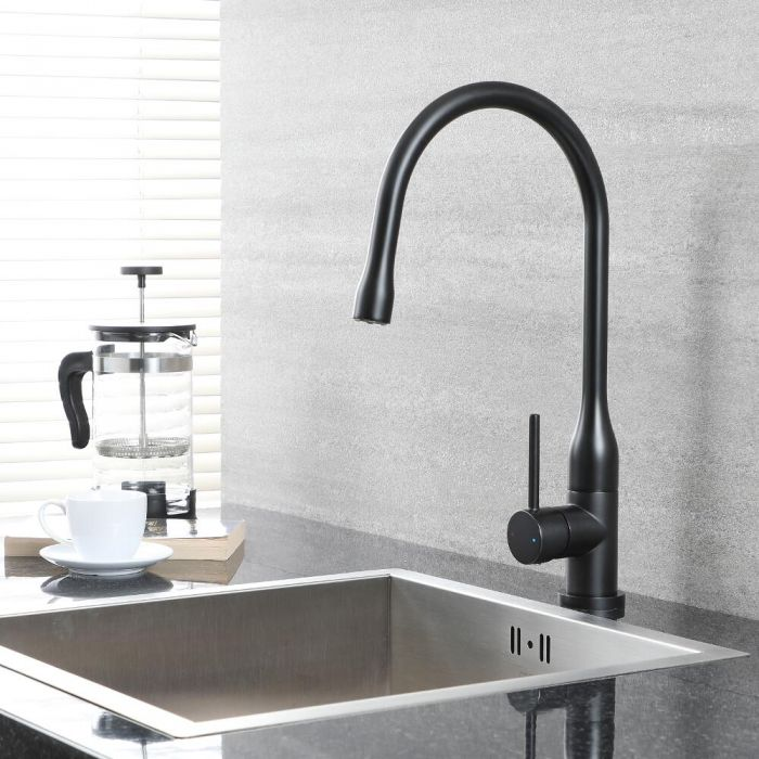 Milano Nero - Single Lever Swivel Spout Kitchen Sink Mixer Tap - Black