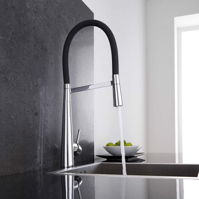 Milano Select - Modern Deck Mounted Monobloc Kitchen Mixer Tap with Flexi Spray - Black and Chrome