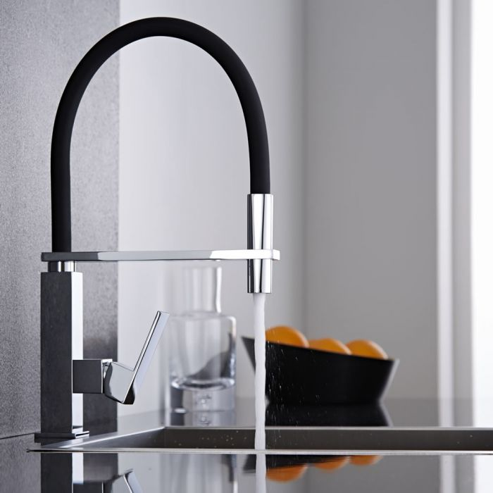 Milano Arvo - Modern Monobloc Kitchen Mixer Tap with Pull Out Spout - Black and Chrome
