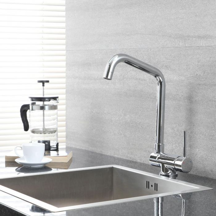 Milano Mirage - Modern Deck Mounted Folding Monobloc Kitchen Mixer Tap - Chrome