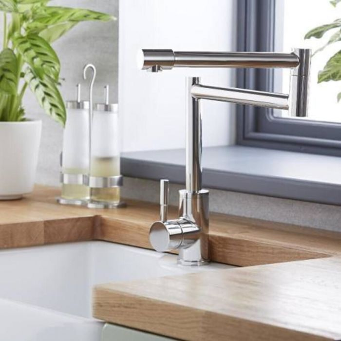 Milano Mirage - Modern Deck Mounted Retractable Pot Filler Tap - Chrome