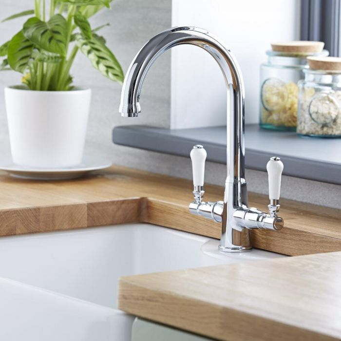 Milano Elizabeth - Traditional Lever Head Kitchen Mixer Tap - Chrome and White