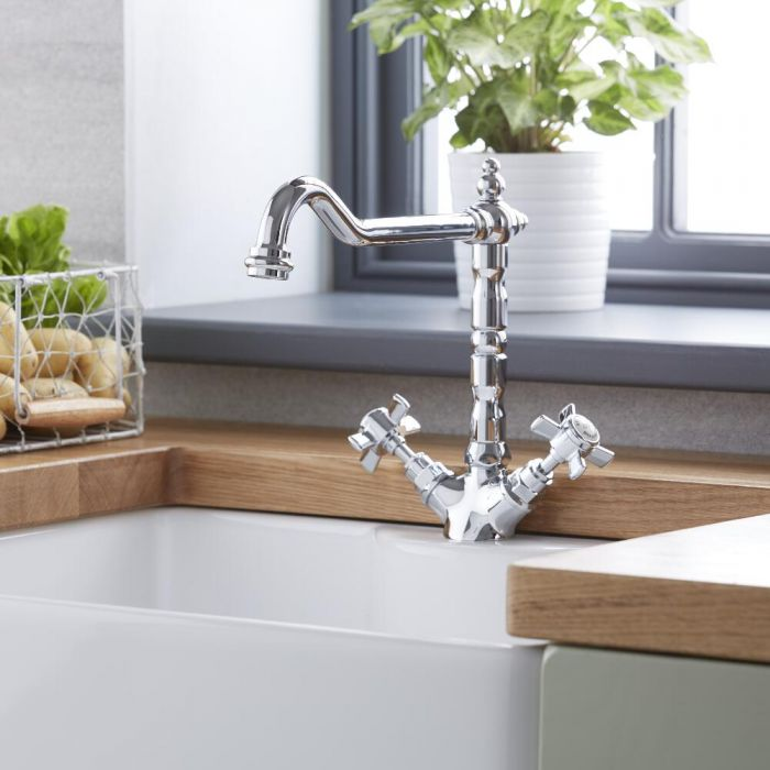 Milano Elizabeth - Traditional French Classic Kitchen Sink Mixer Tap - Chrome