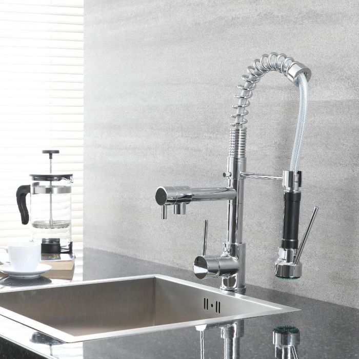 Milano Mirage - Modern Deck Mounted Pull Out Kitchen Mixer Spray Tap with Spring Neck - Chrome