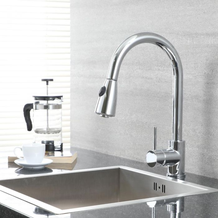 Milano Mirage - Modern Deck Mounted Pull Out Kitchen Mixer Tap - Chrome