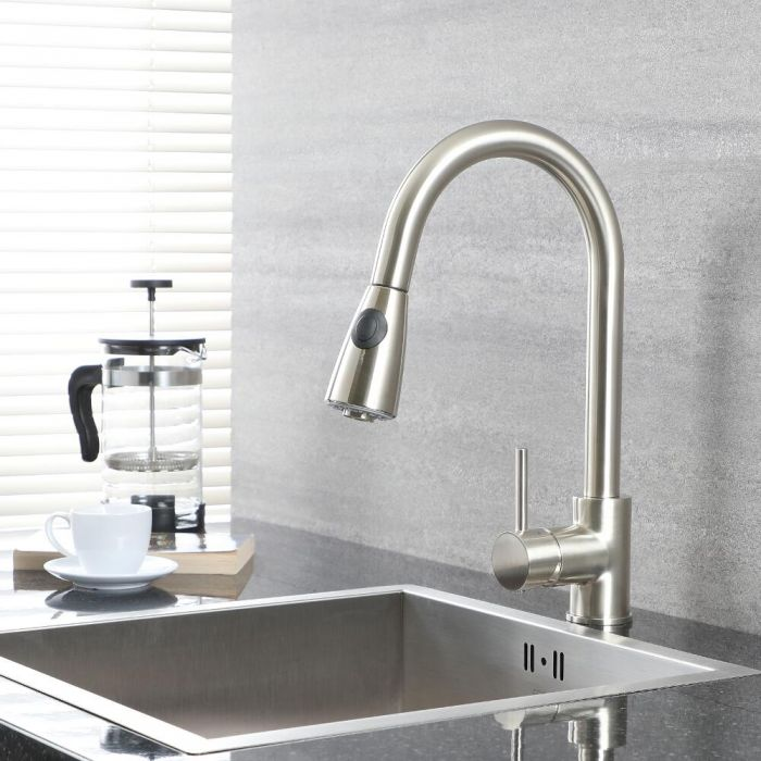 Milano Mirage - Modern Deck Mounted Pull Out Kitchen Mixer Tap - Brushed Nickel
