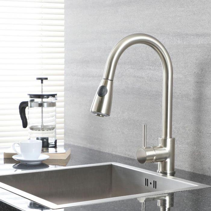 Milano Mirage - Modern Deck Mounted Pull Out Kitchen Mixer Tap - Brushed Nickel