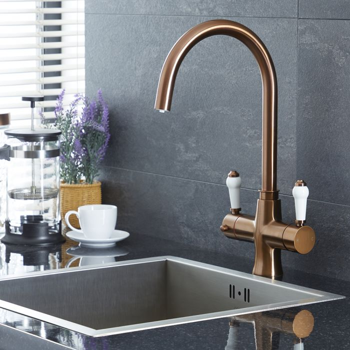 Milano Elizabeth - Traditional 3-in-1 Instant Boiling Hot Water Kitchen Tap - Brushed Copper