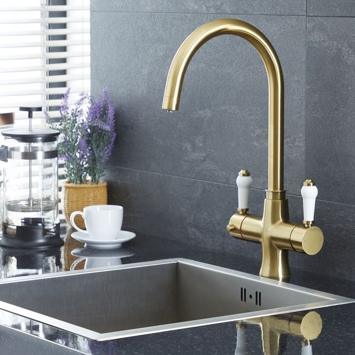 Milano Elizabeth - Traditional 3-in-1 Instant Boiling Hot Water Kitchen Tap - Brushed Gold