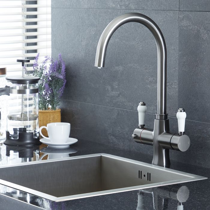 Milano Elizabeth - Traditional 3-in-1 Instant Boiling Hot Water Kitchen Tap - Gun Metal Grey