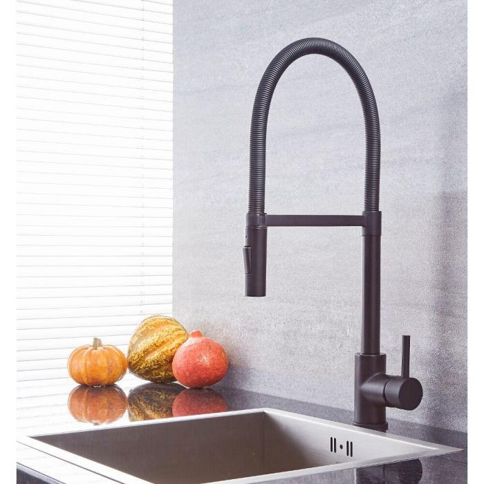 Milano Mirage - Modern Kitchen Mixer Tap with Pull Out Spout - Black