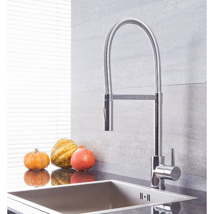 Milano Mirage - Modern Kitchen Mixer Tap with Pull Out Spout - Chrome