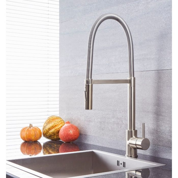 Milano Mirage - Modern Kitchen Mixer Tap with Pull Out Spout - Brushed Nickel