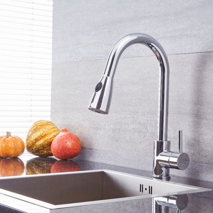 Milano Mirage - Modern Pull Out Kitchen Mixer Tap - Chrome