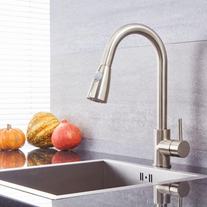 Milano Mirage - Modern Pull Out Kitchen Mixer Tap - Brushed Nickel