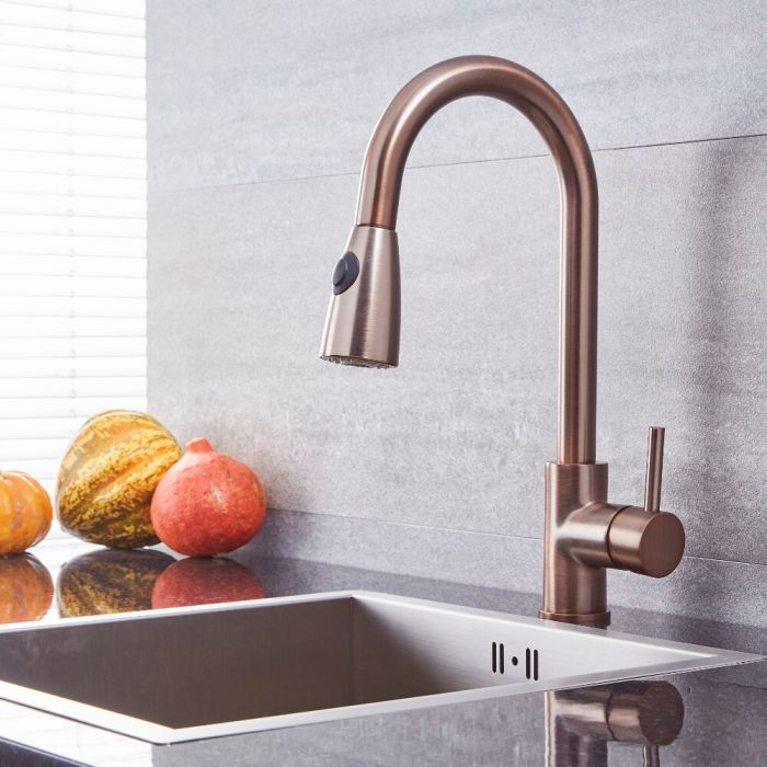 Milano Mirage - Modern Pull Out Kitchen Mixer Tap - Oil Rubbed Bronze