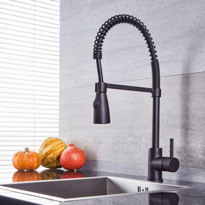 Milano Mirage - Modern Pull Down Spray Kitchen Tap - Black