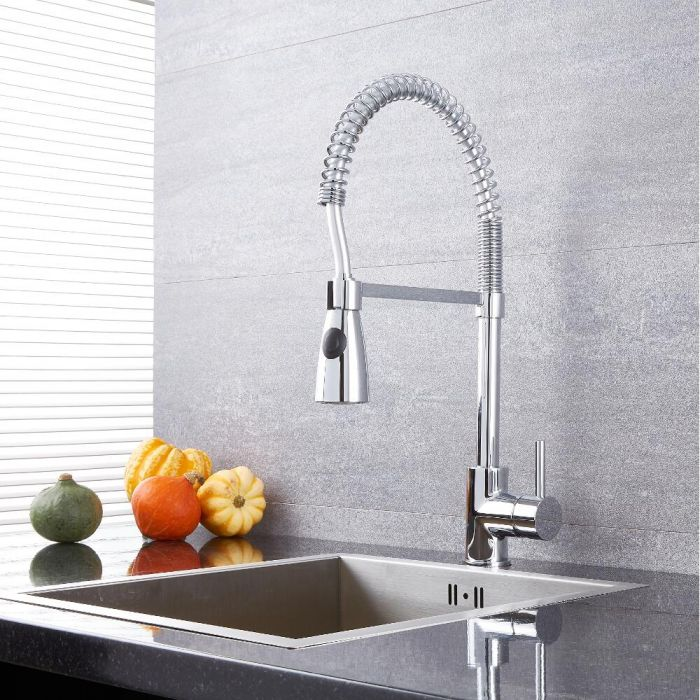 Milano Mirage - Modern Pull Down Spray Kitchen Tap - Chrome