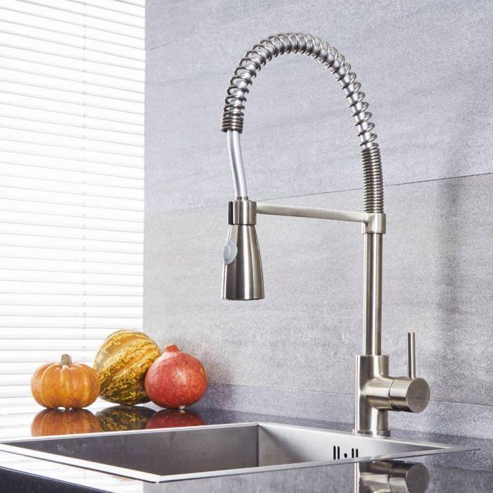 Milano Mirage - Modern Pull Down Spray Kitchen Tap with Spring Neck - Brushed Nickel