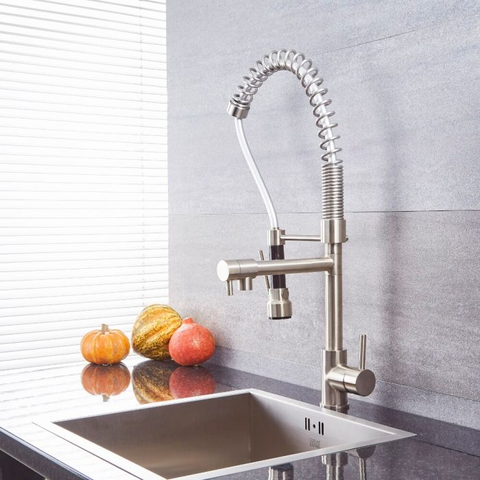 Milano Mirage - Modern Pull Out Kitchen Mixer Spray Tap with Spring Neck - Brushed Nickel