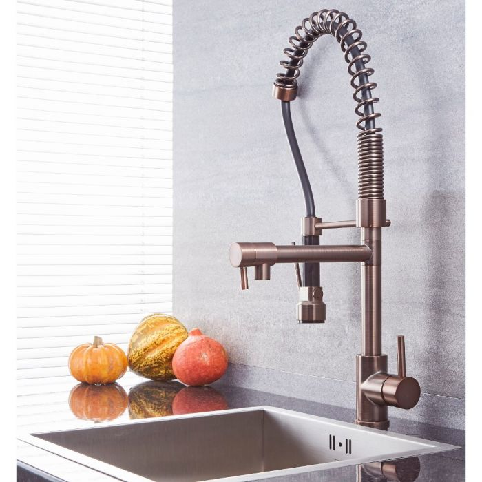 Milano Mirage - Modern Pull Out Kitchen Mixer Spray Tap with Spring Neck - Oil Rubbed Bronze