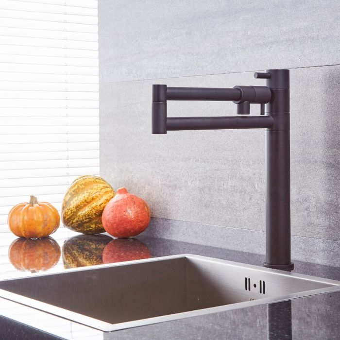 Milano Mirage - Modern Retractable Kitchen Mixer Tap - Black