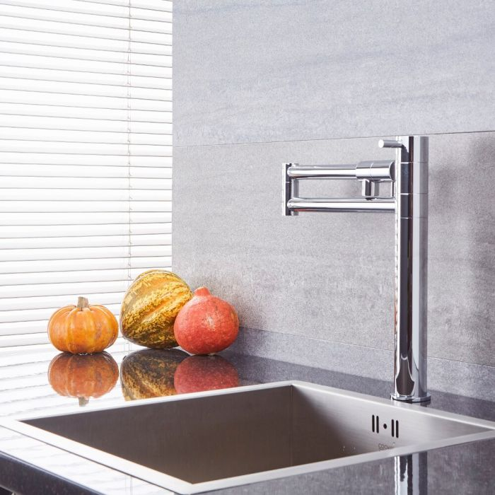Milano Mirage - Modern Retractable Kitchen Mixer Tap - Chrome