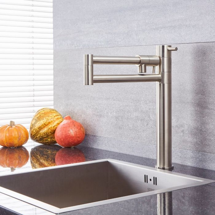 Milano Mirage - Modern Retractable Kitchen Mixer Tap - Brushed Nickel