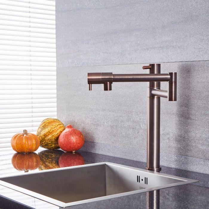 Milano Mirage - Modern Retractable Kitchen Mixer Tap - Oil Rubbed Bronze